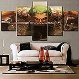 xiaoshicun Carteles Minimalistas de Arte de Lienzo de Moda 5 Sets un Conjunto de murales de Pintura de espadachines de Anime, decoración Moderna del hogar, impresión HD 40x60 40x80 40x100cm SIN Marco
