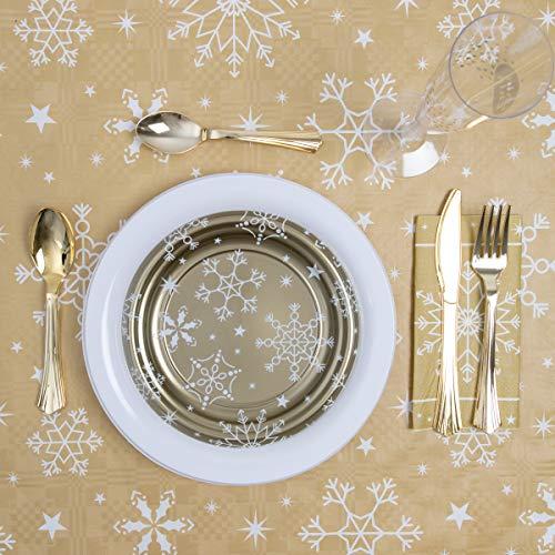 Horeca Collection [Pack Ahorro Kit Vajilla Navidad - Incluye Platos, servilletas, Cubiertos y Copas para 12...