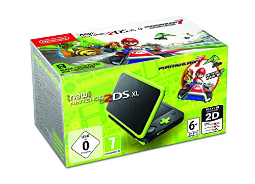 Mario New Nintendo 2DS XL Black & Lime Green with Mario Kart 7
