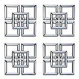 YBGW Espejos De Pared Decorativos Vintage Espejo Pared Decoración Cuadrado Biselado Espejo De Pared Enmarcado Arte De Pared Espejos para Baño Espejos De Pared