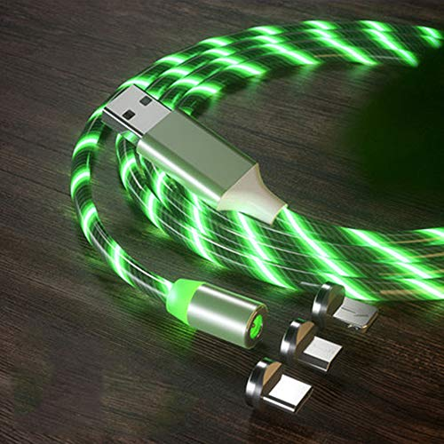 LED Flowing Magnetic Charger Green Cable Light Up Candy Moving Shining Charger Phone Charging Cable Magnetic Streamer Absorption USB Snap Quick Connect 3 in 1 USB Cable