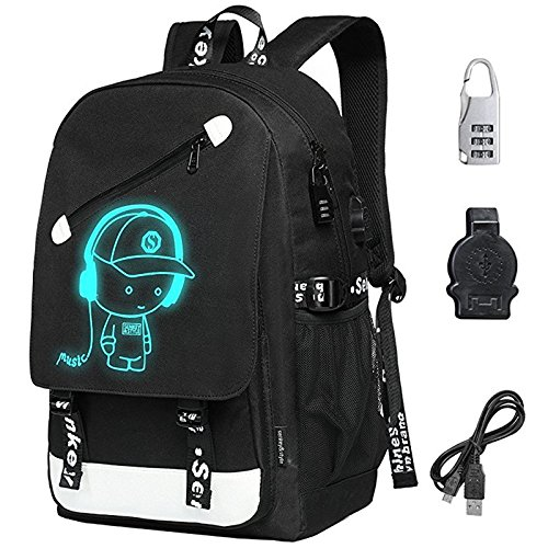 7595eabf28 FLYMEI Anime Luminous Backpack with USB Charging Port and Anti-theft Lock  for Boys and