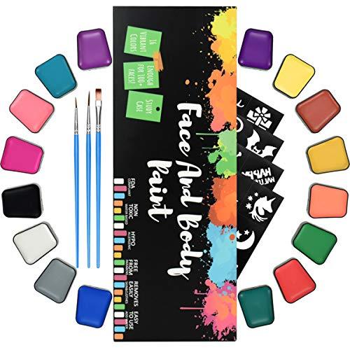 RIOGOO Kit de Pintura Facial para niños Adultos Kit de Pintura Facial Profesional para Pieles sensibles con 16 macetas Grandes, 24 Plantillas, 3 Pinceles Maquillaje Facial a Base de Agua