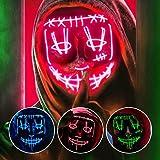 EZGETOP LED Grusel Maske blau - steuerbar, für Halloween, Fasching & Karneval als Kostüm für Herren & Damen (blau) (Rot)