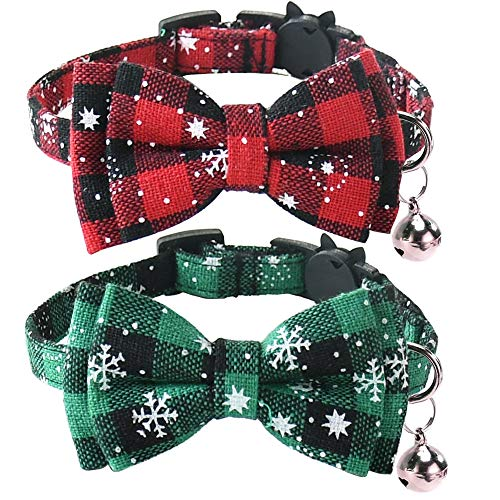 Malier Cat Collar with Christmas Snowflake Pattern Bow tie and Tiny Bell, Adorable Collar with Light Adjustable Buckle Pet Accessories for Kitten Kitty Cats Puppy