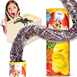 Gejoy Prank Scare Box Set, Snake in a Can and Wooden Spider Prank Box Potato Chip Cans Snake Joke Toys for Fool Day Halloween Party Decoration Supplies
