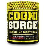 COGNISURGE Nootropic Brain Booster Supplement - Boost Energy & Focus, Concentration, Memory & Mental Clarity - Lions Mane, Cognizin Choline, KSM-66 Ashwagandha, & Neurofactor - Fruit Punch, 20sv