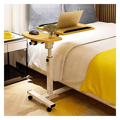 GUOQING Überbetttisch mit Rädern Pflegetisch Laptoptisch Höhenverstellbar, Laptopständer Holz, Mit Rollen, Drehbar Überbetttisch verstellbar (Color : Walnut)