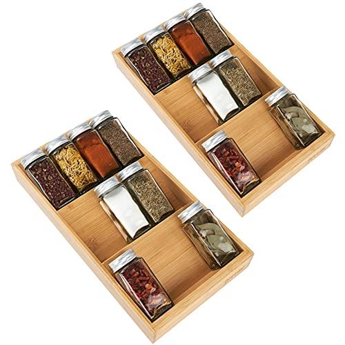 Lettimi Gewürzregal aus Bambus, 3 Ebenen, Organizer für Schublade, großes Gewürztablett zur Aufbewahrung & Organisation in der Küche