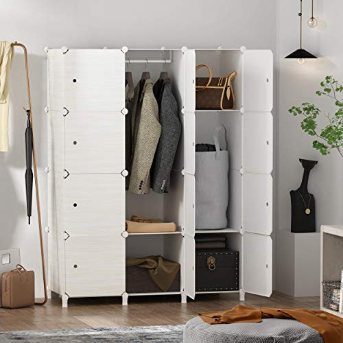 HOMEYFINE Wood Pattern Portable Wardrobe Closet for Hanging Clothes Combination Armoire Modular Cabinet for Space Saving Ideal Storage Organizer Cube for Books Toys Towels 12 Cube