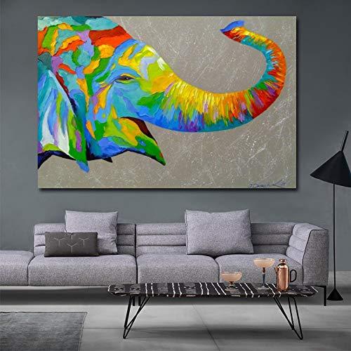 wZUN Pintura al óleo Carteles de Animales e Impresiones Coloridas Pinturas de Lienzo de Elefante Abstracto Sala de Estar Cuadros de Pared decoración del hogar 60x90 Sin Marco