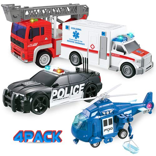 4 Pack City Toy Vehicles 1:20 Scale Friction Powered Fire Truck|Police Car|Ambulance Vehicle|Helicopter Play Set with Lights and Sounds for Kids Gift (City Emergency Rescue)