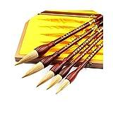 YYBF Pincel De Pintura De Caligrafía China Pinceles De Dibujo De Escritura Sumi para Juego De Nivel Principiante, Juego De Pinceles Chinos (5 Piezas)