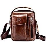 Hebetag Vintage Leather Shoulder Crossbody Bag for Men Business Casual Messenger Briefcase Handbag Mens Phone Wallet Tote Day Pack Coffee