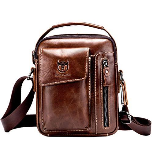 Xieben Vintage Leder Schulter Umhängetasche für Herren Frauen Casual Business Aktentasche Cross Body Pack Tote Handy Handtaschen Sling Brust Tasche Kaffee
