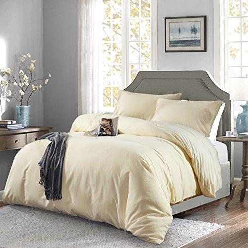 OAITE Duvet Cover,Protects and Covers Your Comforter/Duvet Insert,Luxury 100% Super Soft Microfiber,King Size,Color Cornsilk,3 Piece Duvet Cover Set Includes 2 Pillow Shams