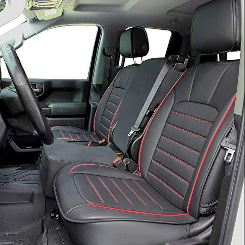 LUCKYMAN CLUB 56-SLD Seat Covers Fit for 2007-2020 Chevy Sierra Silverado 1500/2500 HD / 3500 HD Crew,Double,Extended Cab with Water Proof Faux Leather (Black & Red Full Set)