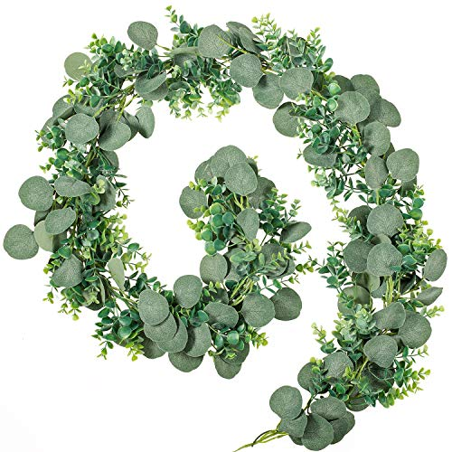 Whaline 6.5ft Two Different Artificial Eucalyptus Leaves Twined Garland, Faux Silver Dollar Eucalyptus Arch Garland String in Grey Green, for Wedding Birthday Greenery Indoor Outdoor Decoration