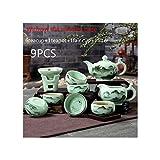 Chinesischen Stil handgemalte Vintage Muster Celadon Teegeschirr Set Teetassen Filter Teekanne für zu Hause Teezeremonie Hochzeitsgeschenk A