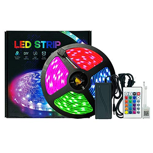 Tiras LED 5M,LED 5050RGB Luces de Tiras Regulables Control APP, Luces con Control Remoto y Caja de Control,Sincronizar con música, Luces LED para Habitacion Hogar Bar Fiesta Restaurante y Coche