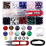 Stone Beads Box Set Kits 240pcs 8mm Round Loose Gemstone Natural Amethyst Lava Stone Amazonlite Assorted Color with Accessories Tools for Bracelet Jewelry Making (Stone Beads Kits)