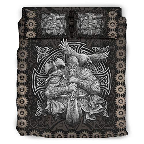 Set di 4 copripiumini Viking Odin – Morbidi e facili da lavare – bianche, 240 x 264 cm