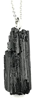 Long and Skinny Raw Black Tourmaline Pendant Necklace