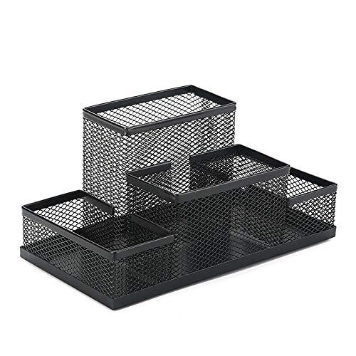 Portapenne in rete metallica portapenne, organizer da scrivania multifunzione in rete, per scuola, casa, ufficio, materiale artistico (nero)