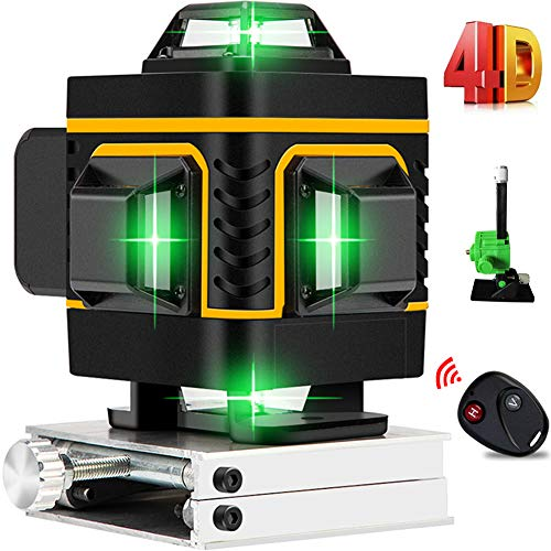 AB Crew 16 Lines 4D Laser Level SelfLeveling 4x360 Horizontal amp Vertical Cross line rechargeable line laser Green Beam Magnetic Lifting Base for Indoor Outdoor