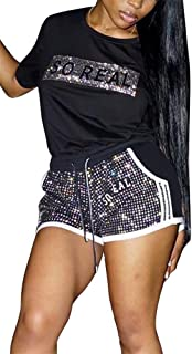 2 Piece Night Clubwear Outfits for Women Long Sleeve Top+Metallic Shiny Pants Glitter Clubwear