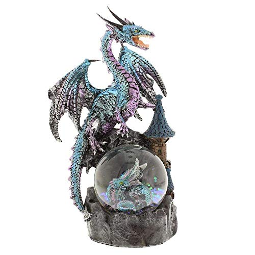 Blue Dragon on a Waterball Figurine by Mystic Legends