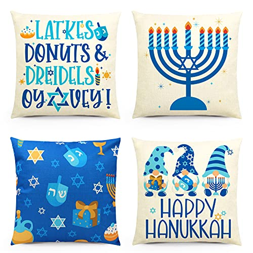 Hanukkah Throw Pillow Covers Happy Chanukah Cushion Cover Hanukkah Gnome Pillowcase Winter Holiday Home Decoration for Sofa Couch Living Room Set of 4
