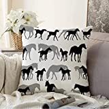 N\A Decorative Throw Pillow Covers Cushion Case Gallop Horses Mares White Foals Recreation Breading Allure Active Run Walk Design Galloping Moving Pillowcase for Couch Sofa