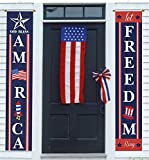"""4th of July Porch Sign Patriotic Door Decoration - """"Let Freedom Ring"""" and """"GOD Bless America"""", Fourth of July Memorial Day Independence Day Flag Day Labor Day Hanging Banner for Yard Indoor Outdoor"""