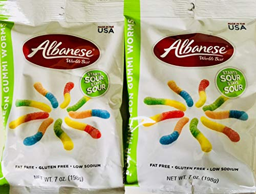 Albanese World's Best Sour Mini Neon Gummi Worms 7 Ounce (Pack of 2)