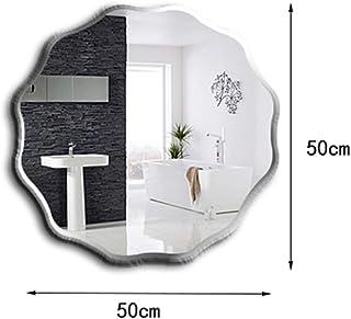 Espejo de baño de 50 * 50 cm, Espejo de Montaje en Pared de baño sin Marco, Espejo de vanidad Redondo Ondulado, Espejo Decorativo de Porche