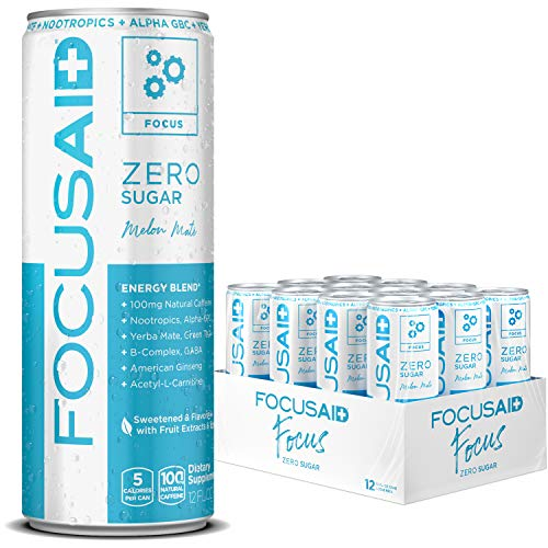 FOCUSAID ZERO SUGAR Energy Blend, Nootropics, Alpha-GPC, GABA, B-Complex, Yerba Mate, Green Tea, 100mg Natural Caffeine, Keto-Friendly, No Artificial Flavors or Sweeteners, 12-oz. cans (Pack of 12)