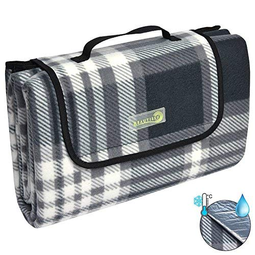 Beautissu Picknickdecke BellaKa Wasserdicht 200x200 XXL Outdoor, wärmeisoliert & weich Fleece Stranddecke Outdoordecke kariert Oeko-Tex Zertifikat