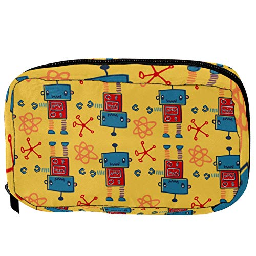 Bolsas de cosméticos divertidas con diseño de robots de dibujos animados, práctica bolsa de viaje Oragniser bolsa de maquillaje para mujeres y niñas