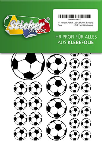 114 pegatinas de fútbol de 15 a 50 mm, color blanco y negro, de PVC, lámina impresa, autoadhesiva, EM, WM, Bundesliga