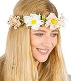 SIX Haarkranz, elastischer Blumenkranz, Haarband, Haarschmuck, Blüten, Festival, JGA, Hochzeit, Kostüm, Karneval, weiss, rosa, grün, gelb (456-236)