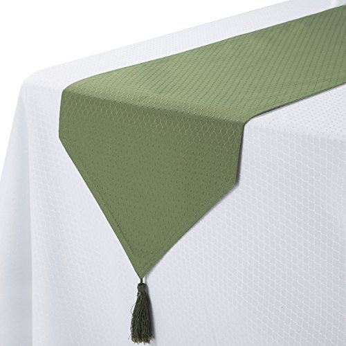 VEEYOO 1 Piece Spillproof Table Runner with Tassel 14x72 Polyester Waffle Jacquard for Restaurant Kitchen Dining Wedding Party, Sage Green
