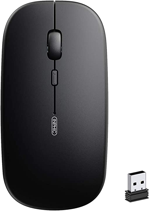 Mouse per notebook wireless ricaricabile, mouse ottico mini silenzioso con clic mute, 1600 dpi ultra inphic PM-1