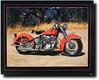 Harley Davidson Motorcycle Wall Decor Picture 1954 Red Panhead Vintage Bike Art Print Poster (16x20)