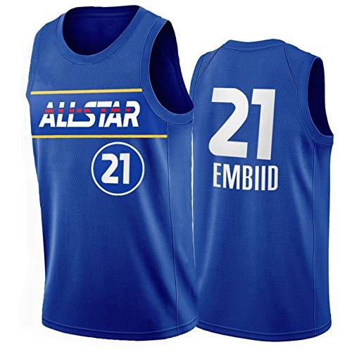 TFGVC 76ers 21# Embiid - Camiseta deportiva informal para hombre, chaleco sin mangas, transpirable, secado rápido y resistente al desgaste (X-2XL) Azul-L
