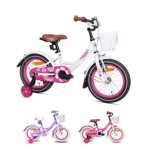 Hiland Petal - Bicicleta infantil de 12 a 16 pulgadas, con cesta, freno de mano y freno de contrapedal