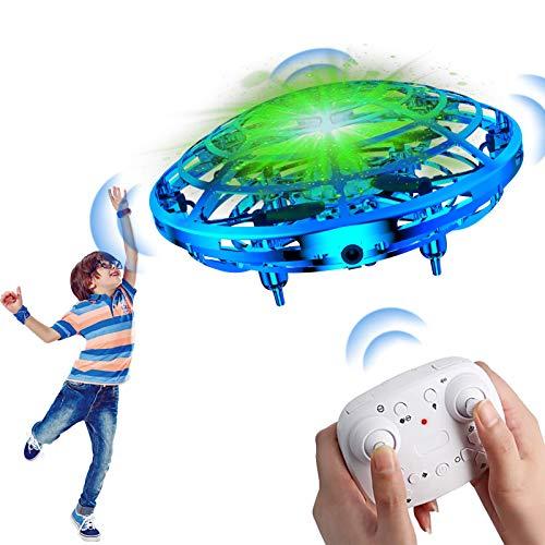 Qicool UFO Mini Drohne,Mini Drohne für Kinder handgesteuertes Fliegendes Spielzeug mit LED-Leuchten Wiederaufladbares USB-Ladegerät UFO-Spielzeug für Jungen und Mädchen +Regler