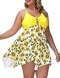 Hanna Nikole One Piece Womens Plus Size Swimdress with Boyshort Swimsuits Yellow 24W