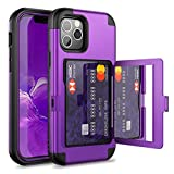 WeLoveCase for iPhone 12 Pro Max Wallet Case with Credit Card Holder & Hidden Mirror, Three Layer Shockproof Heavy Duty Protection Cover Protective Case for iPhone 12 Pro Max - 6.7inch Purple