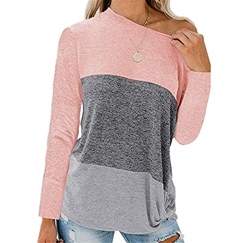 Tops Mujer Personalidad Moda Primavera Verano Cuello Diagonal Mujer Blusa Único Empalme Dobladillo Plisado Diseño Diario Casual Cómodo All-Match Manga Larga Mujer T-Shirts B-Pink S